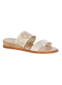 Beige Lazer Cut Sandals