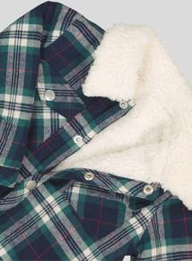 Green Checked Fleece Lined Overshirt (0-24 months)
