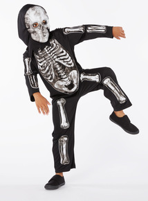 Black Halloween Glow in the Dark Skeleton with Mask Outfit (3-12 years)