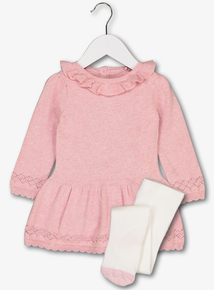 Pink Knitted Dress With Tights (Newborn-12 months)