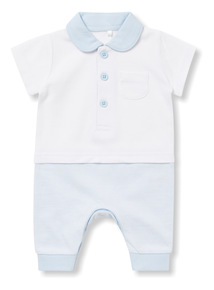 Blue and White Pique Collared Romper (0-24 months)