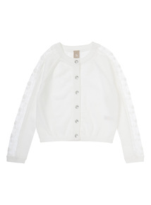 Girls White Long Sleeve Lace Cardigan (3-12 years)