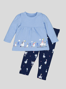 Blue Mother Goose Long-Sleeved Top & Legging Set (0-24 Months)
