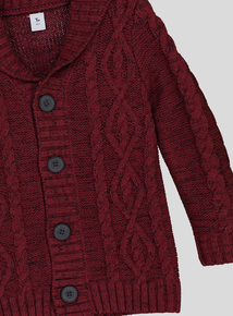 Burgundy Shawl Collar Cable Cardigan (9 months-6 years)