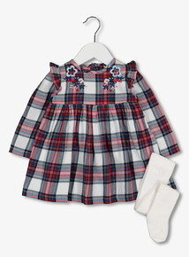 Red Check Dress & Tights Set (0-24 months)