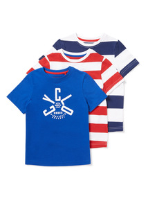 3 Pack Multicoloured Short Sleeve T-Shirts (3-14 years)