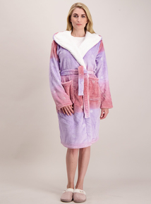 Purple Ombre Snowflake Print Dressing Gown