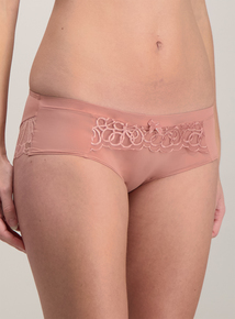 Brown Lace Trim Short Knickers