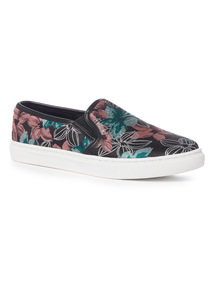 Black Butterfly Floral Print Skater Shoes