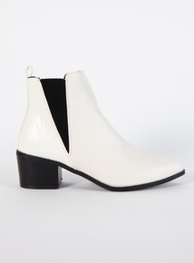 White Block Heeled Western Boots