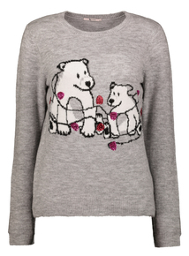 Grey Christmas Polar Bear Jumper