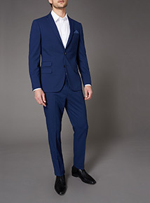 Online Exclusive Cobalt  Blue Slim Fit Stretch Suit Jacket