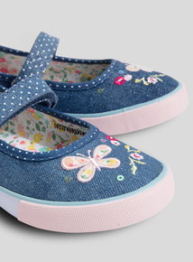 Blue Denim Floral Mary Jane Shoes (4 Infant - 12)