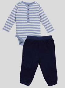 Blue Two Piece Body and Cord Trouser Set (0-24 months)