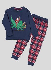 Christmas Navy Santa Triceratops Pyjamas (1-10 years)
