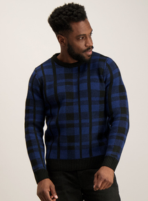 Blue Check Crew Neck Jumper