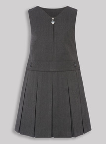 Grey Pleated Zip Front Pinafore Dress (3-12 years)