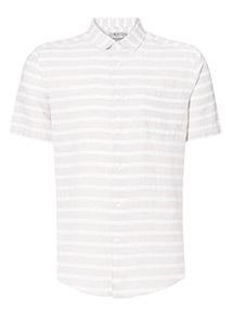Stone Striped Linen Rich Regular Fit Shirt