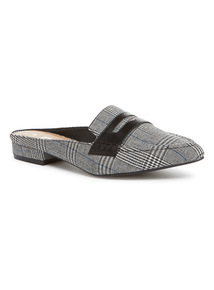 Grey Dogtooth Slip On Mules