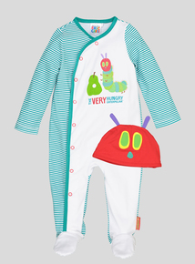 White & Green 'The Very Hungry Caterpillar' Sleepsuit Set (0-18 months)