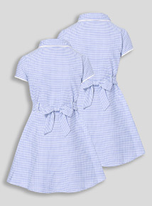2 Pack Blue Classic Gingham Dresses (3-12 years)