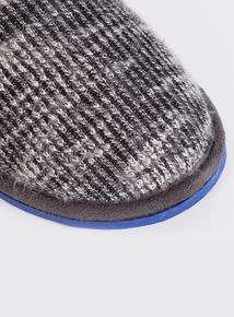 Grey Ribbed Mule Slipper