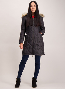 Black Padded Feather & Down 3 Tog Coat