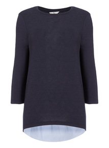 Navy Shirt Hem Top