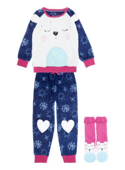 3 Piece Navy Polar Bear Fleece Pyjamas (1.5-12 years)
