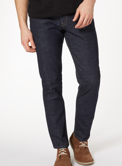 Dark Denim Tapered Jeans With Stretch