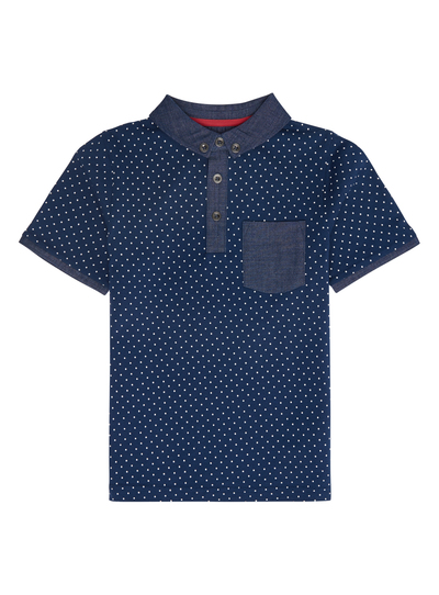 7caa7912d Kids Boys Navy Spotted Polo Shirt (3-12 years)