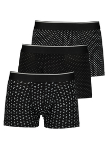 Black Geometric Print Hipsters 3 Pack