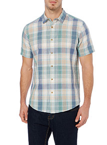 Green And Blue Check Linen Shirt