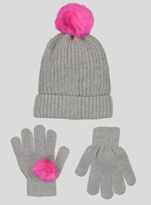 Grey Ribbed Hat & Glove Pom-Pom Set (3-13 years)