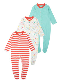 Animal Sleepsuits 3 Pack (0 - 24 months)