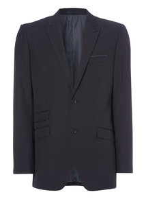 Navy Striped Wool Tailored Jacket