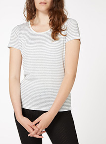 Pointelle Thermal Stripe Tee
