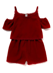 Red Cold Shoulder Playsuit (3 - 12 years)