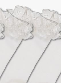 White Broderie Ankle Socks 5 Pack (3 infant - 5.5 adult)