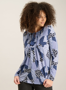 Blue Patchwork Print Tassled Top