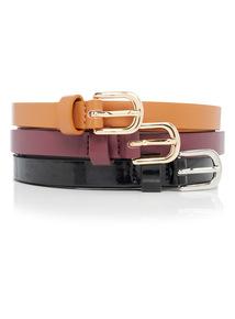 Multicoloured Slim Belts 3 Pack