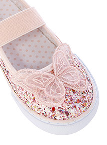 Pink Glitter Butterfly Appliqué Shoes