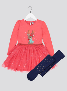 Christmas Pink Reindeer Tu Tu Dress With Tights (9 months to 6 years)