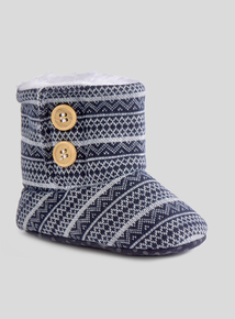 Blue Patterned Boot Slippers (0-18 months)