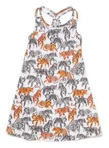 Multicoloured Tiger Print Dress (3-14 years)