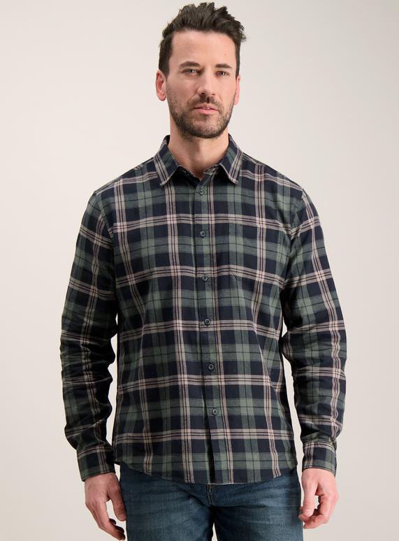 f72cb350f75 Menswear Navy   Green Check Regular Fit Shirt