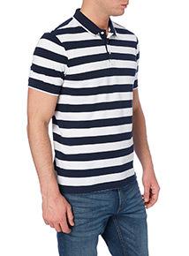 Navy Block Stripe Polo