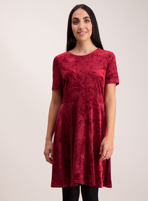 Berry Red Velvet Skater Dress