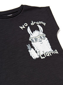 Black 'No Drama Llama' Print Oversized Vest (9 months- 6 years)