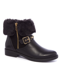Faux Fur Collar Biker Boots